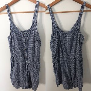 Old Navy Blue & White Plaid Romper Size Small